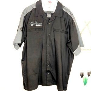 Harley Davidson | Black & Gray Short-Sleeve Shirt